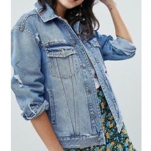 Free People | studded denim trucker jacket XS